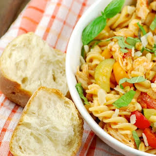 Summery Grilled Chicken Pasta with Homemade Tomato Sauce.