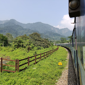 Fairyland by Sandip Roy - Transportation Trains ( mountains, greenery, fairyland, hills, train )