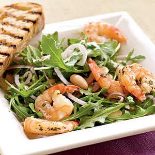 Roasted Rosemary Shrimp with Arugula and White Bean Salad.