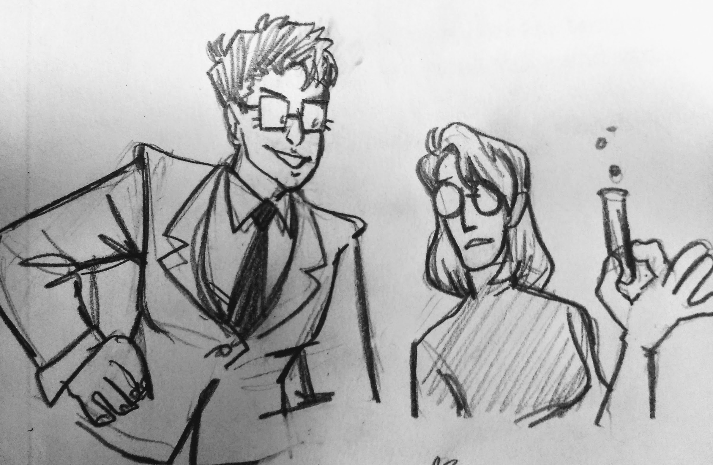 X and Y as girls. Y still wears a suit and tie. X has long hair and goggles and a tube of something mysterious.