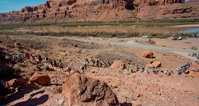 Photo: The group hiking up the start of the trail; Colorado River is in the background.