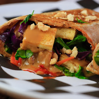 Grilled Tofu Burritos with Peanut Lime Sauce and Kimchi