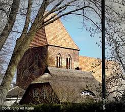 Photo: Dorfkirche Alt Karin bei Rostock.  Olga Schröder, * Hamburg 14.06.1856, + Berlin Zehlendorf 19.10.1882 heiratet in Hamburg 1875 Karl von Polier. Ihr erhaltenes Grab befindet sich auf dem Kirchhof von Alt Karin.