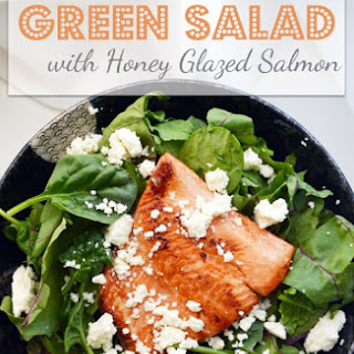 Spinach and Beet green salad with honey glazed salmon.