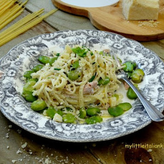Broad Beans Spaghetti With Ricotta, A Thrifty And Healthy