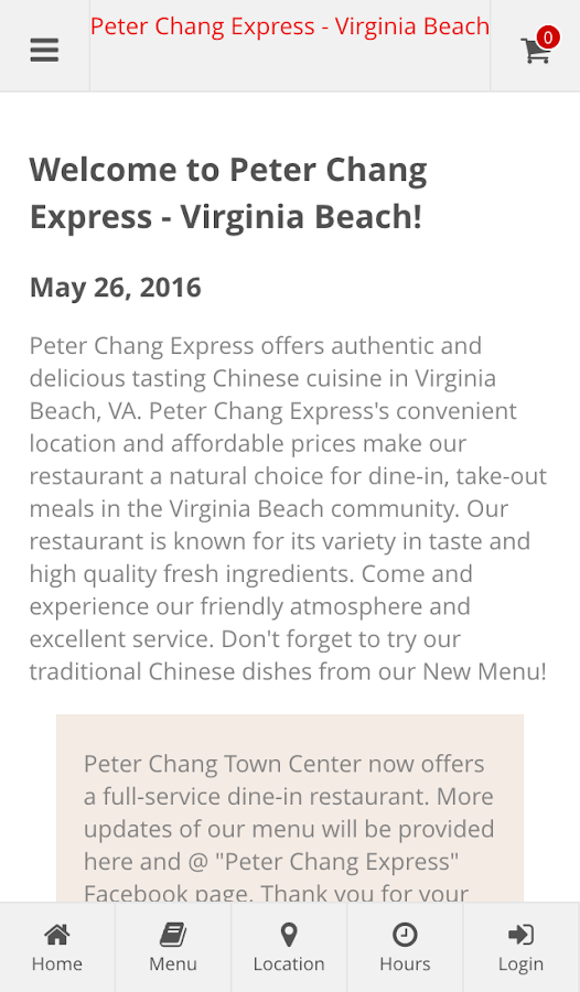 Peter Chang - Virginia Beach- screenshot