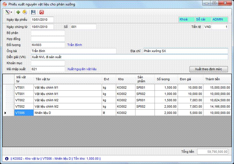Phiếu xuất nguyên vật liệu cho phân xưởng phần mềm kế toán 3tsoft