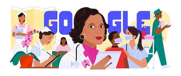 Enfermera con cabello corto castaño, aretes de aro y lápiz labial rojo delante de la palabra 'Google.' Detrás de la enfermera hay pacientes y otras enfermeras.
