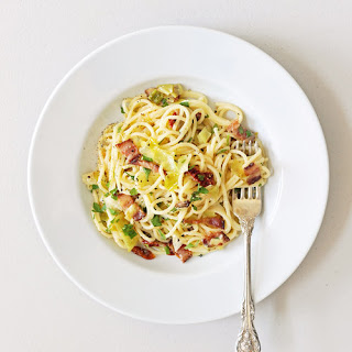 Pasta Carbonara With Leeks and Sun-Dried Tomatoes