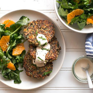 Quinoa Fritters And Arugula-tangerine Salad With Tahini Dressing