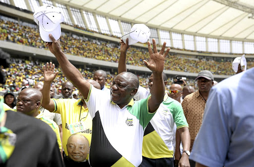 President Cyril Ramaphosa arriving at Moses Mabhida Stadium for the ANC manifesto launch in Durban.