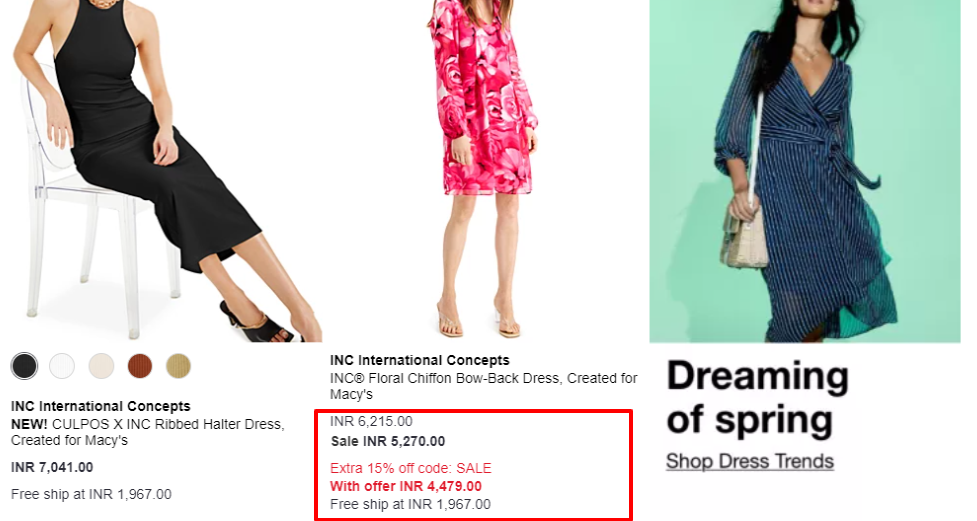 Upfront Cost Display in eCommerce Page