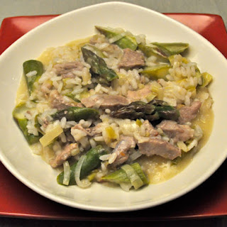 Asparagus Risotto with Veal, Leeks and Green Garlic