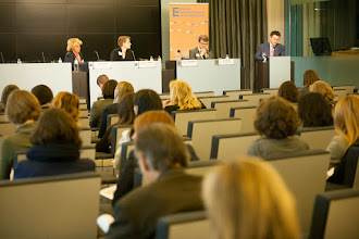 Photo: Seesion 1 on 'Mainstreaming Gender Equality'. Presenters (from left to right): Agnes Hubert, Mari-Liis Sepper, Petr Polak, Darren McKinstry