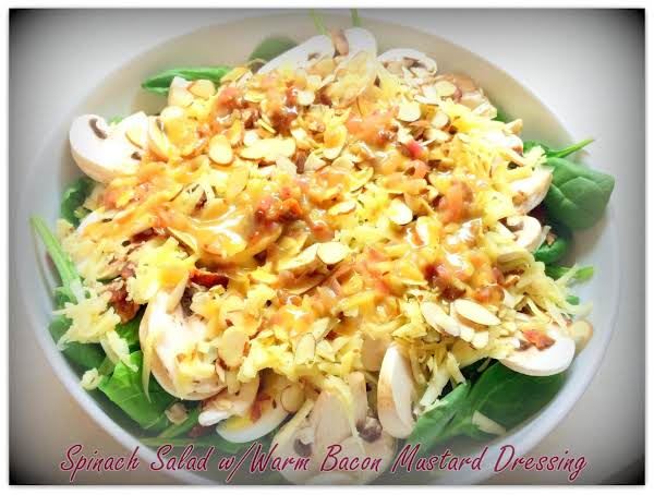 Spinach Salad With Warm Bacon Mustard Dressing