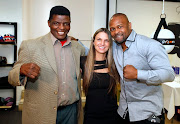 Roy Jones jnr (right) with Jodi Solomon (centre) and Thulani Sugarboy Malinga at the launch of the Roy Jones Jr and Jodi Solomon Boxing gym in Craighall, Johannesburg.