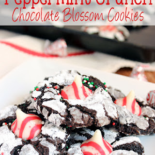 Peppermint Crunch Chocolate Blossom Cookies.