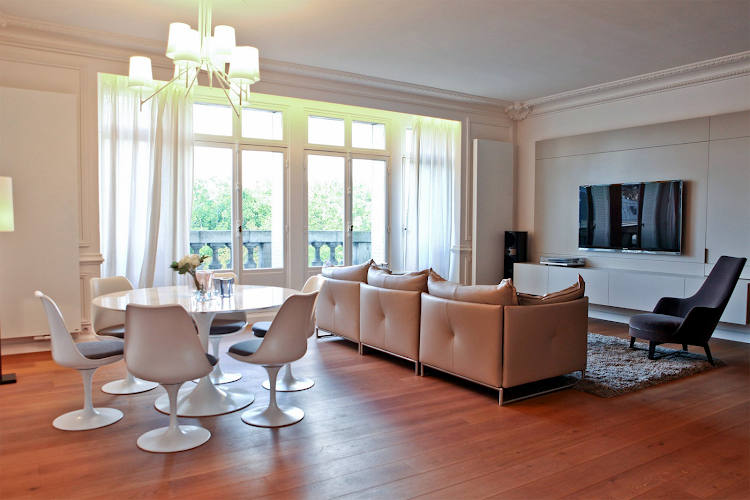 Living area at Eiffel Tower apartment