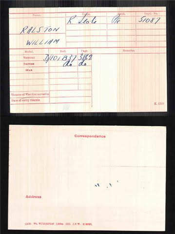 William Ralston's Medal Index Card