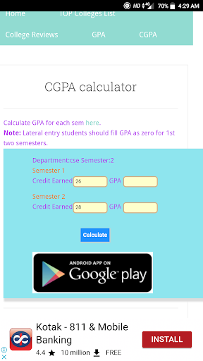 Online cgpa calculator for lateral entry