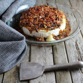 Baked Brie with Caramelized Onions and Bacon.