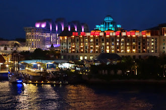 Photo: Hotel with the pink and orange lights is the Hard Rock which changes colors