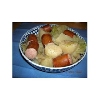 Slow Cooker Cabbage, Potatoes, And Smoked Sausage.