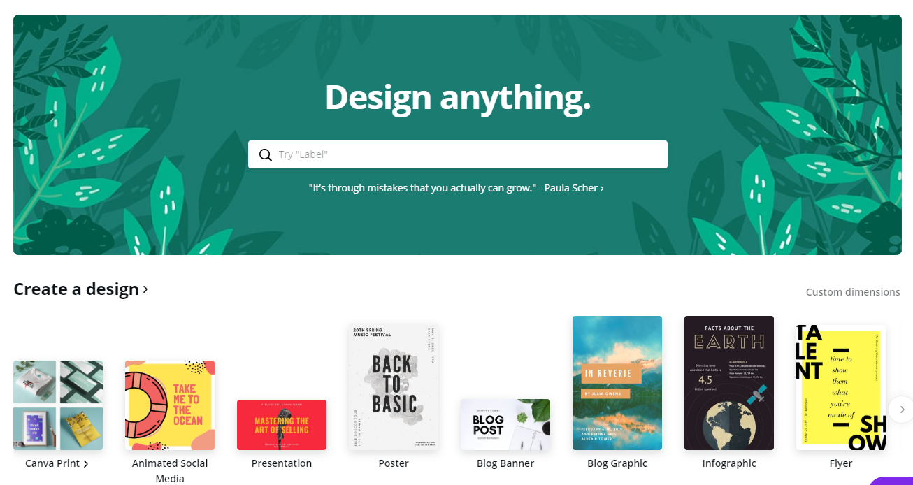 Canva homepage with all of the template categories.