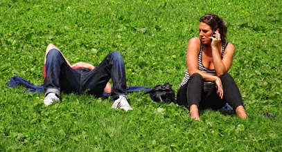 Photo: A talk in the park. But not with each other.