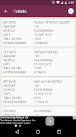Screenshot of Traffic Tickets