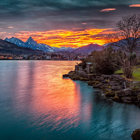 Sky on Fire by Jessica Meckmann - Landscapes Waterscapes