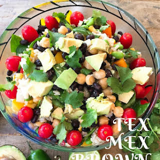 Tex Mex Brown Rice Salad with Jalapeno Vinaigrette.