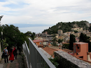 Photo: Overlooking Taormina from the Via Crucis steps up to the Saracen Castle
