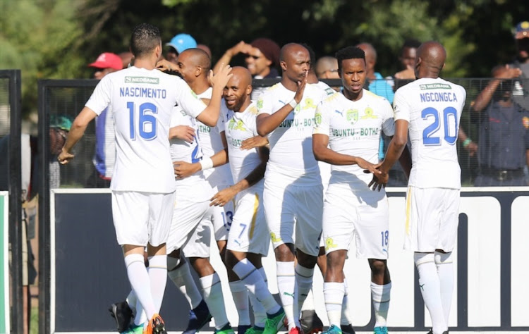 Sundowns celebrate the opening goal during the Nedbank Cup Semi Final between Maritzburg United and Mamelodi Sundowns at Harry Gwala Stadium on April 22, 2018 in Durban, South Africa.