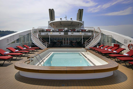 The pool aboard the luxury expedition ship Le Boreal.