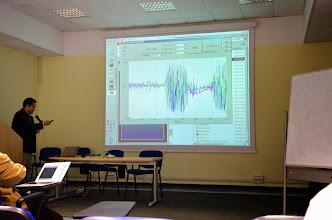 Photo: Demonstration of wireless ECoG by Kojiro Matsushita (using EMG for demonstration purpose)