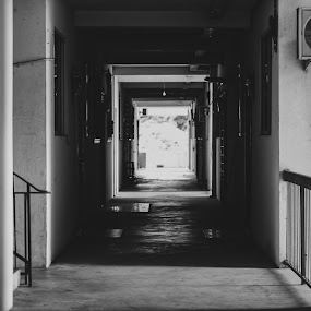 """""""Planning"""" by Lydelter  Bolodin  - Black & White Buildings & Architecture ( white, urban, hallway, light, stairs, black, black and white, building, apartment )"""