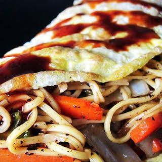 Omusoba (Japanese Omelet With Stir Fried Noodles and Vegetables).