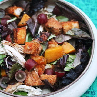 Roast Chicken and Butternut Squash Salad With Croutons, Arugula, and Grapes