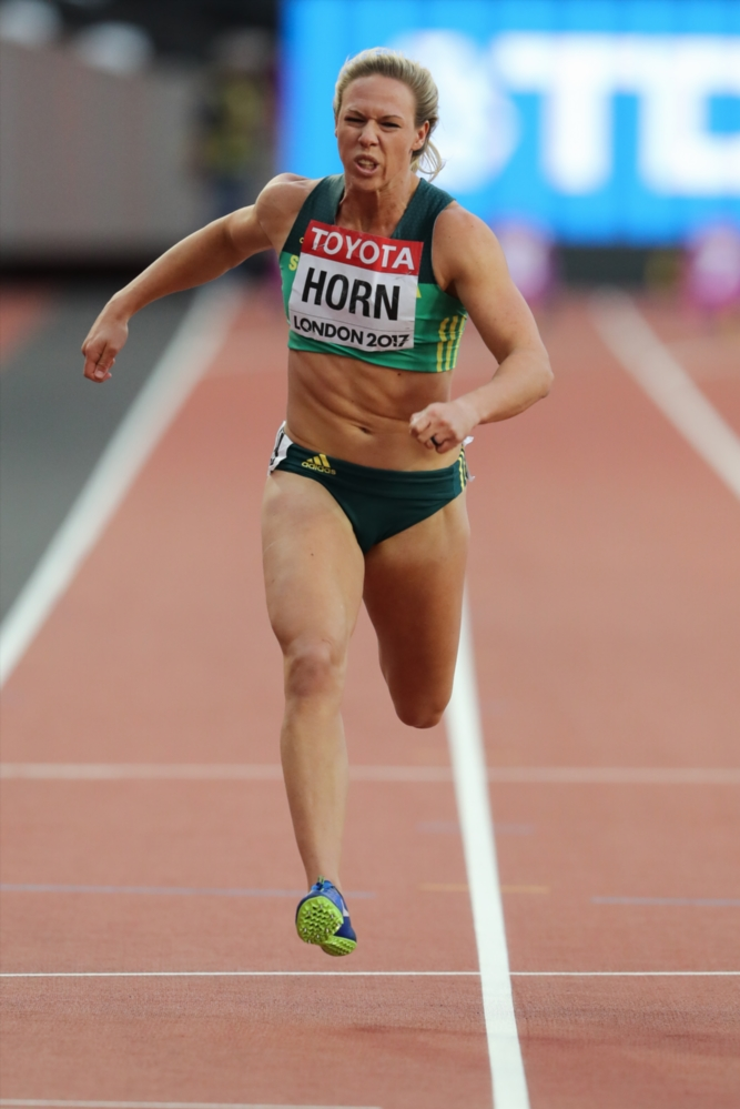 Carina Horn running a women's 100m race at the 16th IAAF World Athletics Championships 2017 at The Stadium.