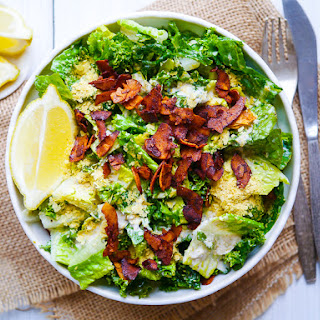 Vegan Kale Caesar Salad with Coconut Bacon