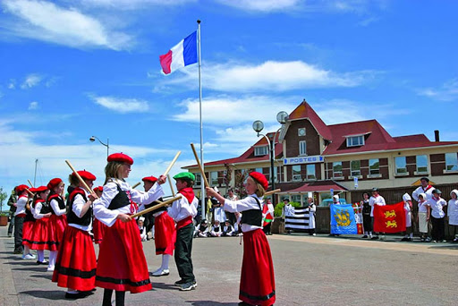 Schoolchildren practice a routine in Saint Pierre, Canada, a self-governing territorial overseas collectivity of France near Newfoundland.