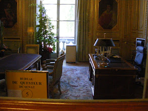 Photo: The office of the Questeurs: three Senators elected by their peers to lead the Senate administration and budgeting. The window is flanked by portraits of two important figures in pre-Revolutionary France: on the left, Pierre Séguier (chancellor in the mid-17th century), and on the right, Achille de Harlay de Sancy (a noted 17th century clergyman, diplomat and intellectual).
