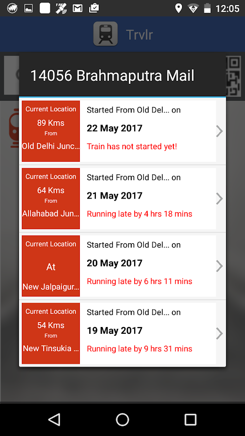 Trvlr - IRCTC Running Schedule- screenshot