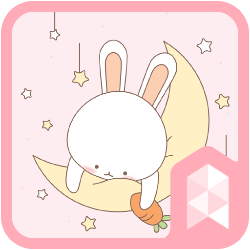 Simple Pink Moon Rabbit GIF icon theme