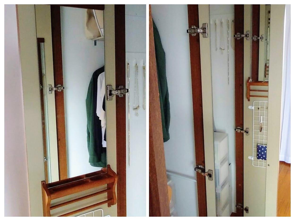 クローゼット扉裏、左右に付けられた鏡