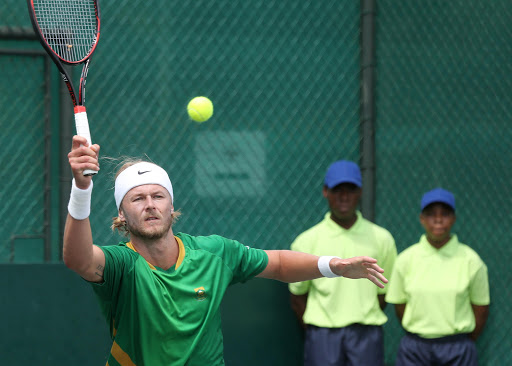 Nik Scholtz of South Africa in action against Jurgen Zopp of Estonia during the opening singles of the Davis Cup tie between South Africa and Estonia at the Irene Country Club on February 03, 2017 in Pretoria, South Africa. File photo