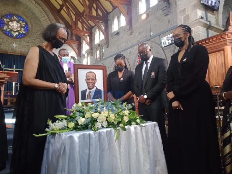 The family of the late Ezra Bunyenyezi after his mass service.