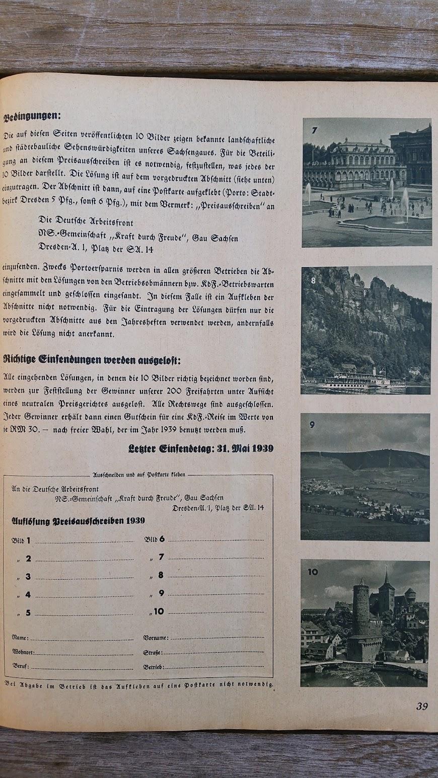 """Die Deutsche Arbeitsfront - Urlaubsfahrten 1939 - NS-Gemeinschaft """"Kraft durch Freude"""" Gau Sachsen - Katalog - Preisausschreiben"""