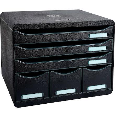 Box Exacompta 6lådor svart